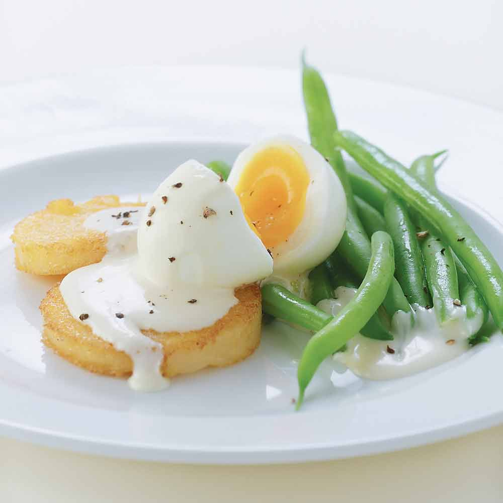 Golden Polenta and Egg with Mustard Sauce