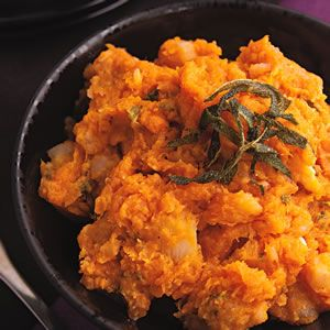 Sweet Potato and Turnip Mash with Sage Butter