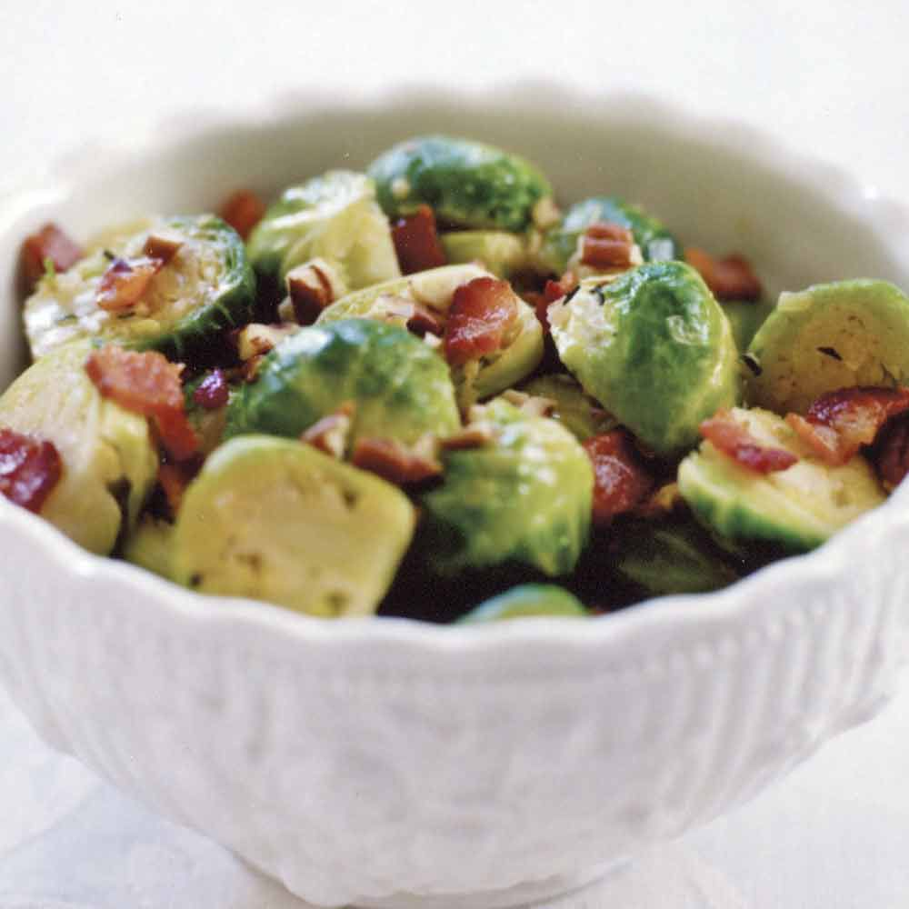 Braised Brussels Sprouts with Bacon and Pecans