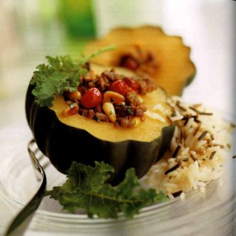 Baked Acorn Squash with Cranberry Stuffing