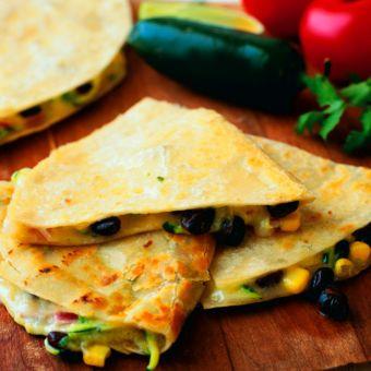 Zucchini, Corn, Black Bean and Jack Cheese Quesadillas