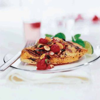 Grilled Chicken with Almonds and Raspberry Relish