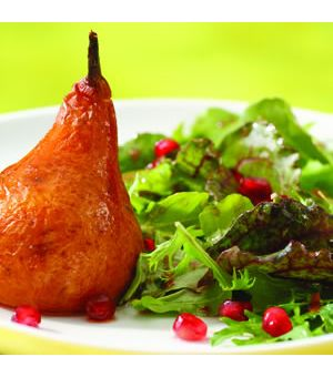 Roasted Pear and Arugula Salad with Pomegranate-Chipotle Vinaigrette