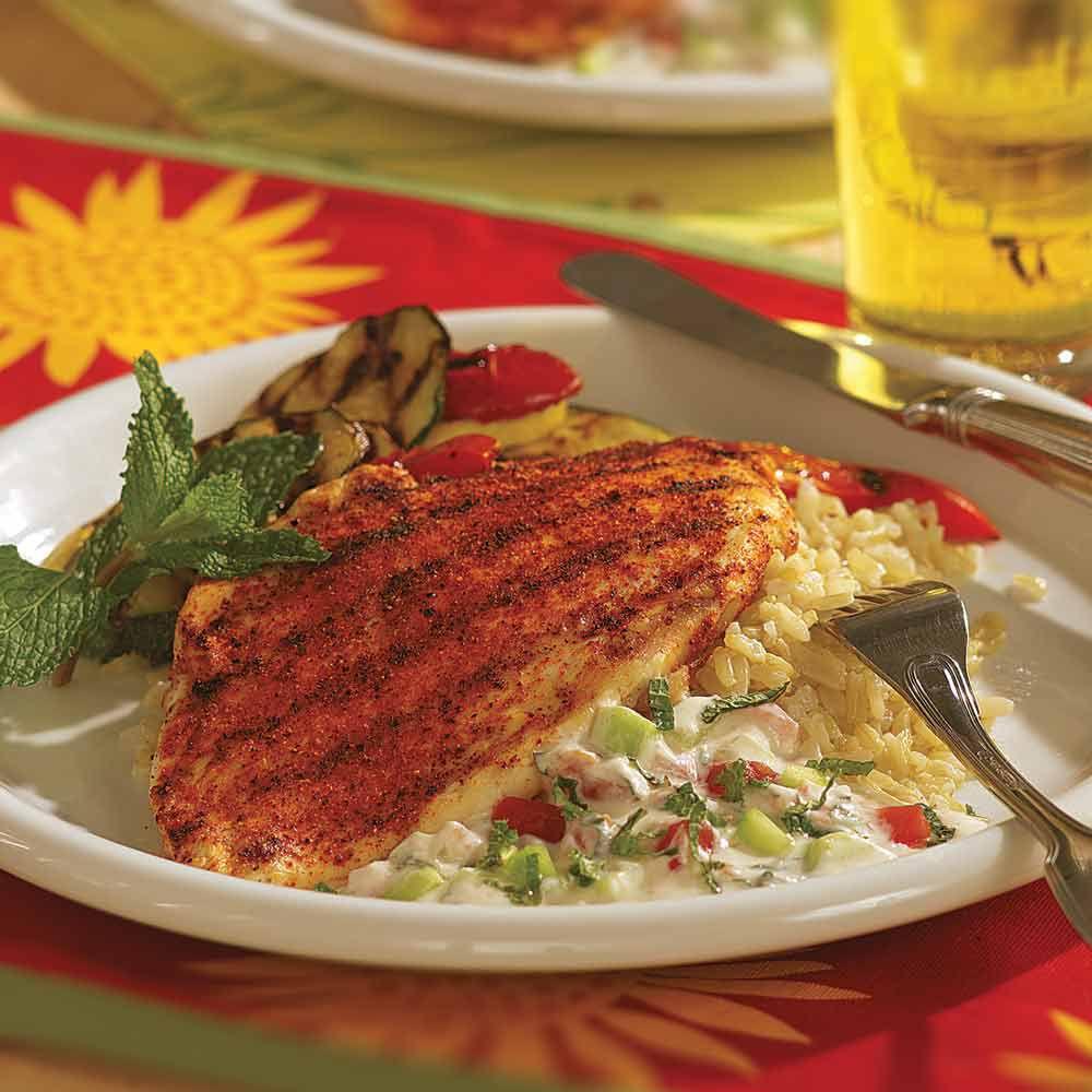 Tandoori Chicken with Tomato-Cucumber Raita