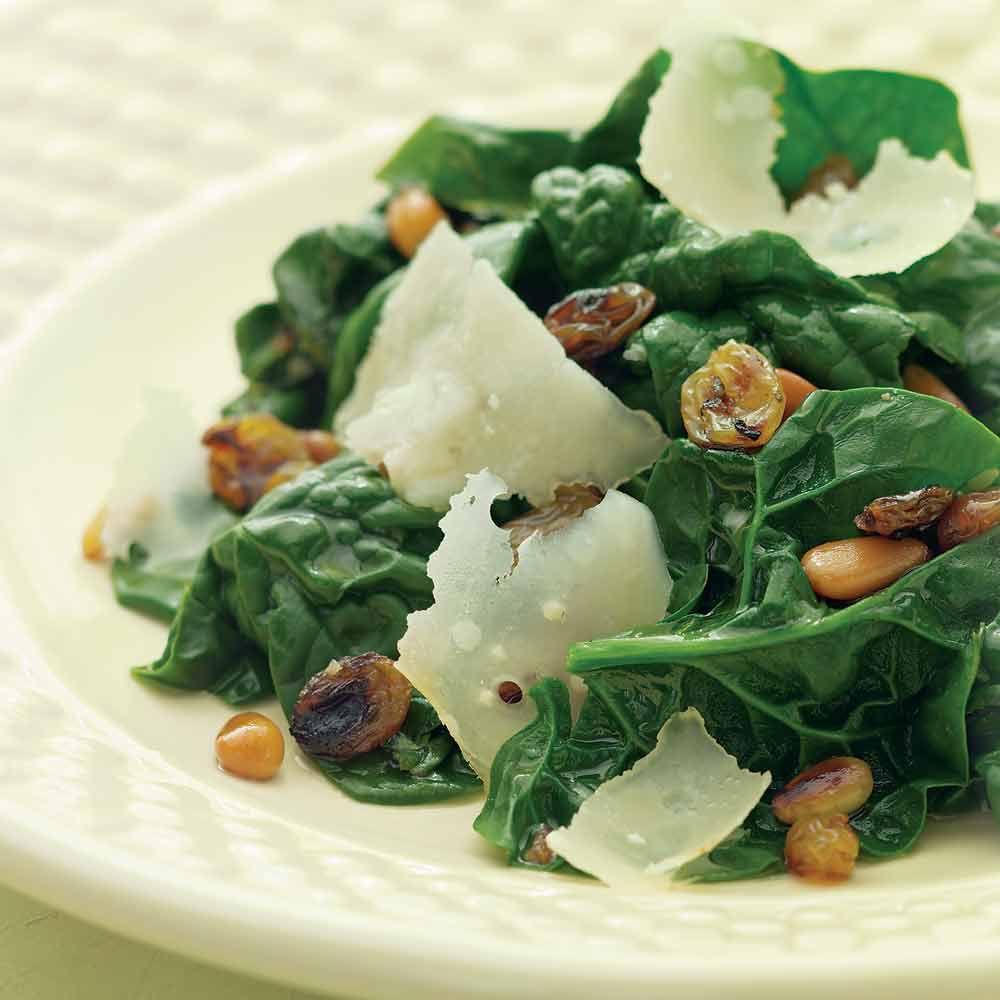 Sauteed Spinach with Pine Nuts and Golden Raisins