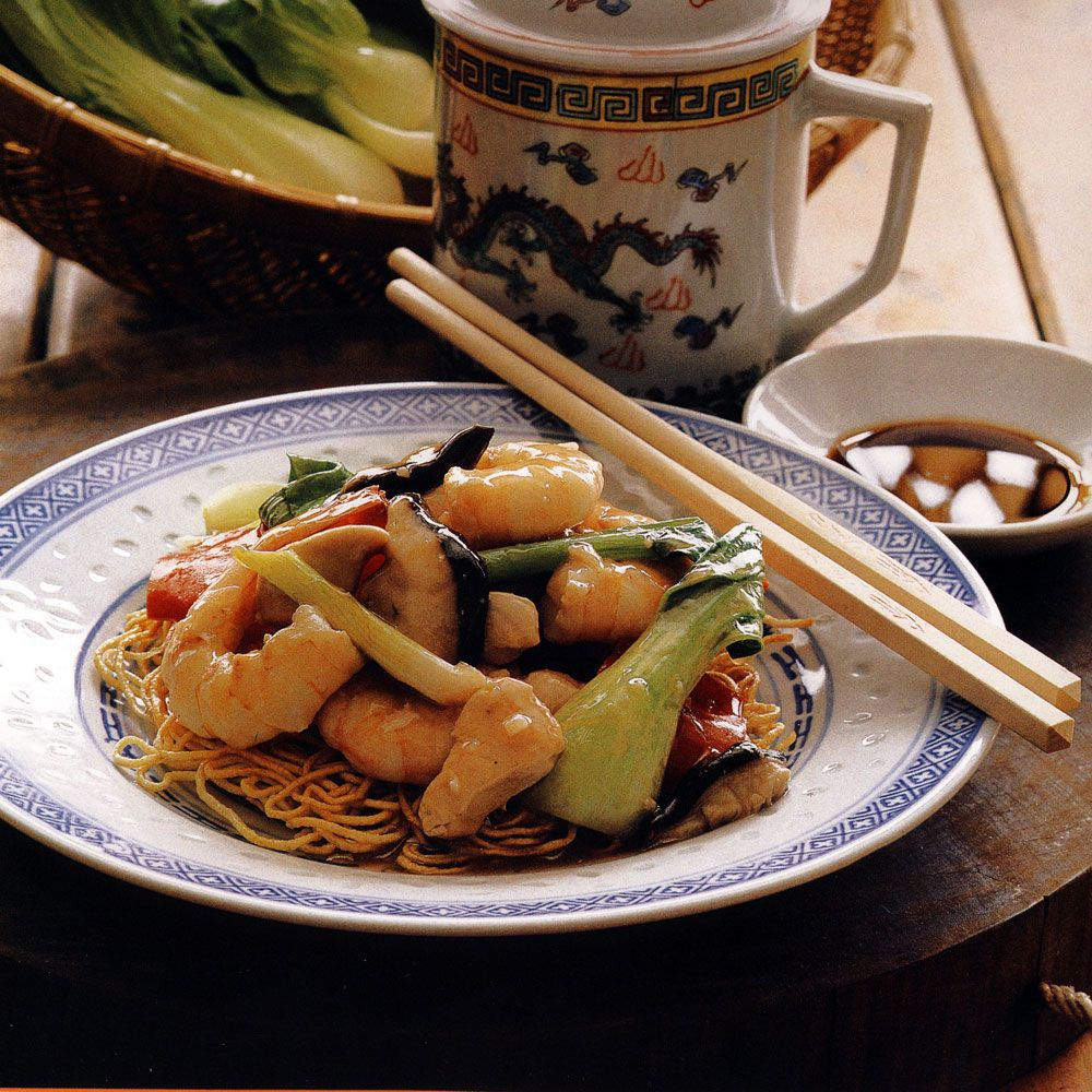 Chicken, Shrimp and Bok Choy over Pan-Fried Noodles