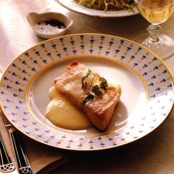 Steamed Salmon with Potato and Garlic Sabayon