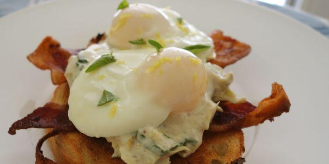 Poached Eggs and Bacon with Creamy Artichoke-Lemon Sauce