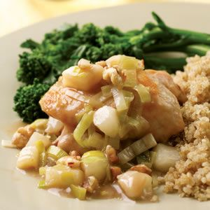 Chicken Thighs with Pear and Leek Sauce
