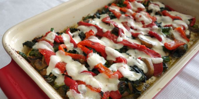 Baked Mixed Vegetable and Pesto Polenta