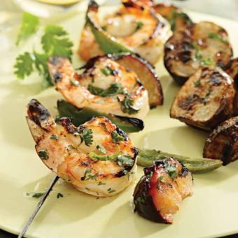 Cilantro-Lime Shrimp & Plum Kebabs