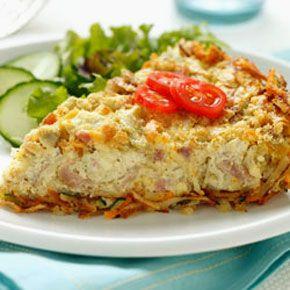 Artichoke & Ham Quiche with Cheesy Hash Brown Crust