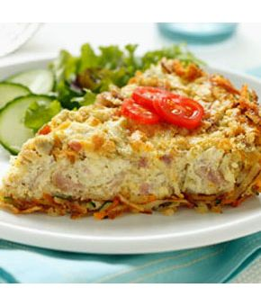 Artichoke & Ham Quiche with Cheesy Hash Brown Crust