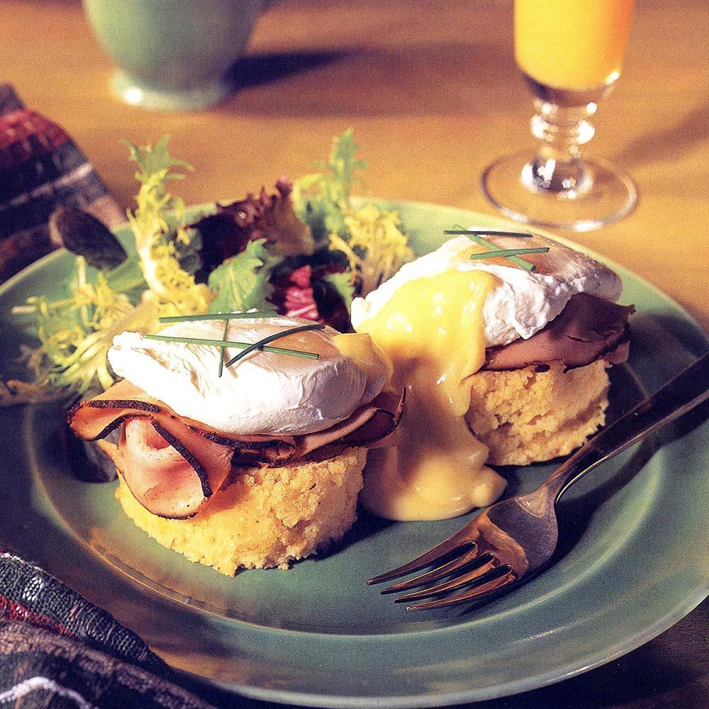 Eggs Benedict with Virginia Ham and Corn Bread