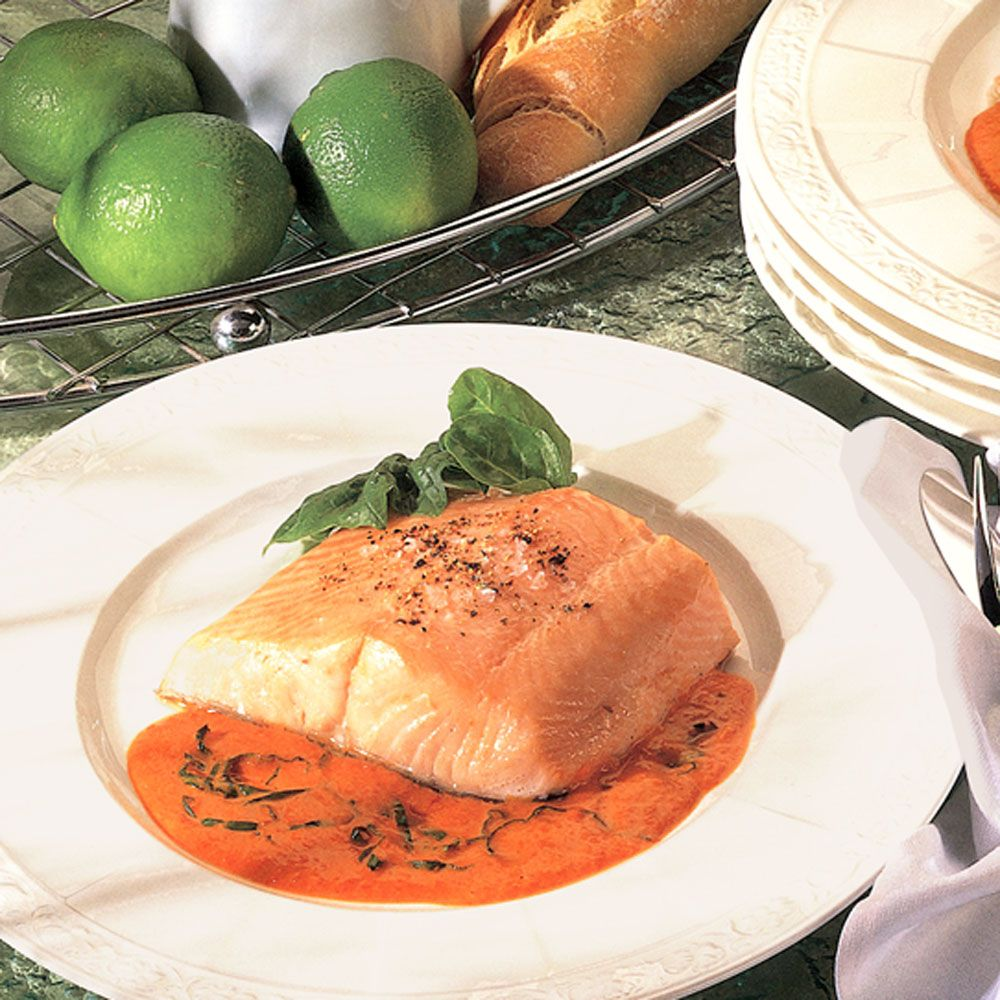 Roast Salmon with a Basil and Sweet Pepper Sauce