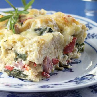 Ham, Gruyére & Spinach Bread Pudding