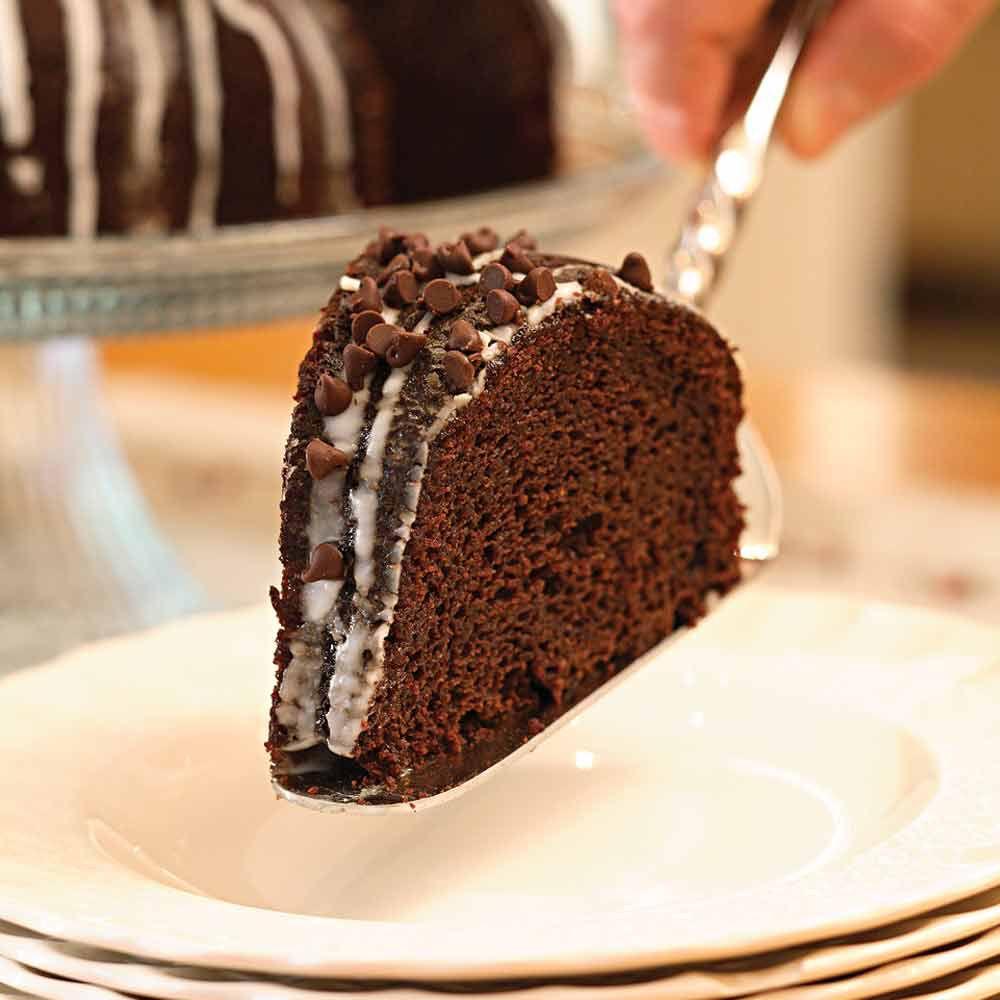 Glazed Chocolate-Pumpkin Bundt Cake