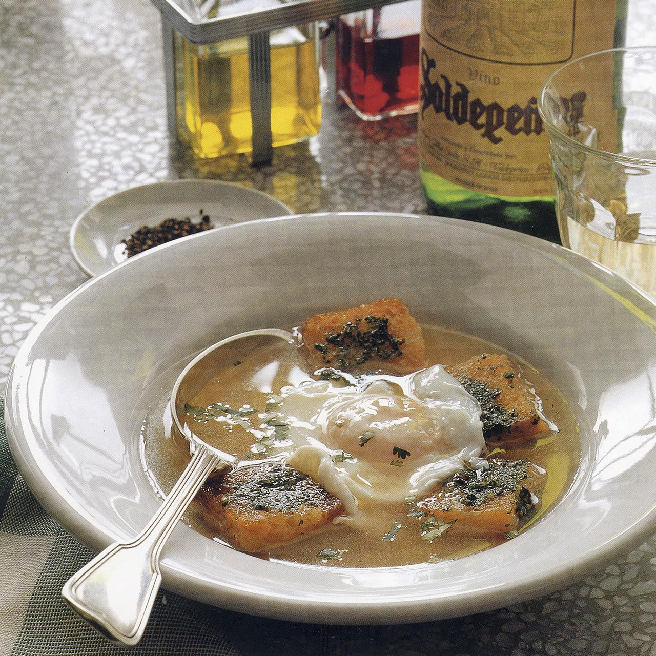 Bread Soup with Cilantro, Garlic and Poached Egg