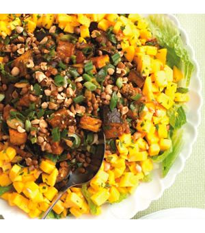 Spiced Eggplant-Lentil Salad with Mango
