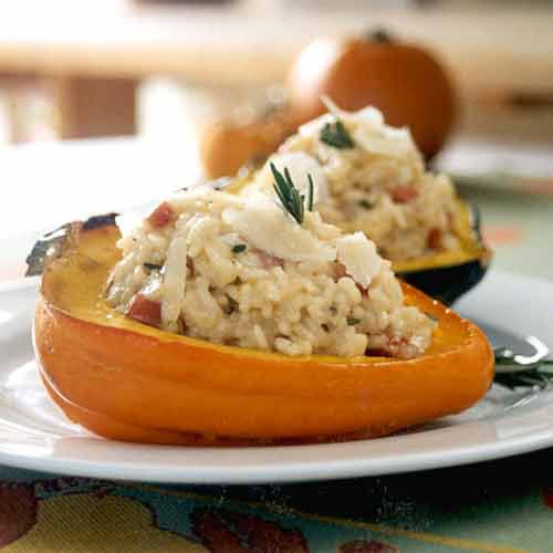 Rosemary Risotto in Acorn Squash Cups