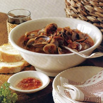 Stewed Clams with Sausage, Ham and Tomatoes