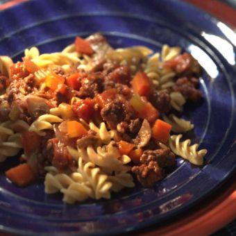 Whole-Wheat Fusilli with Beef Ragu