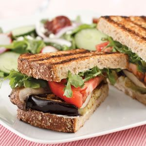 Grilled Eggplant and Portobello Sandwich