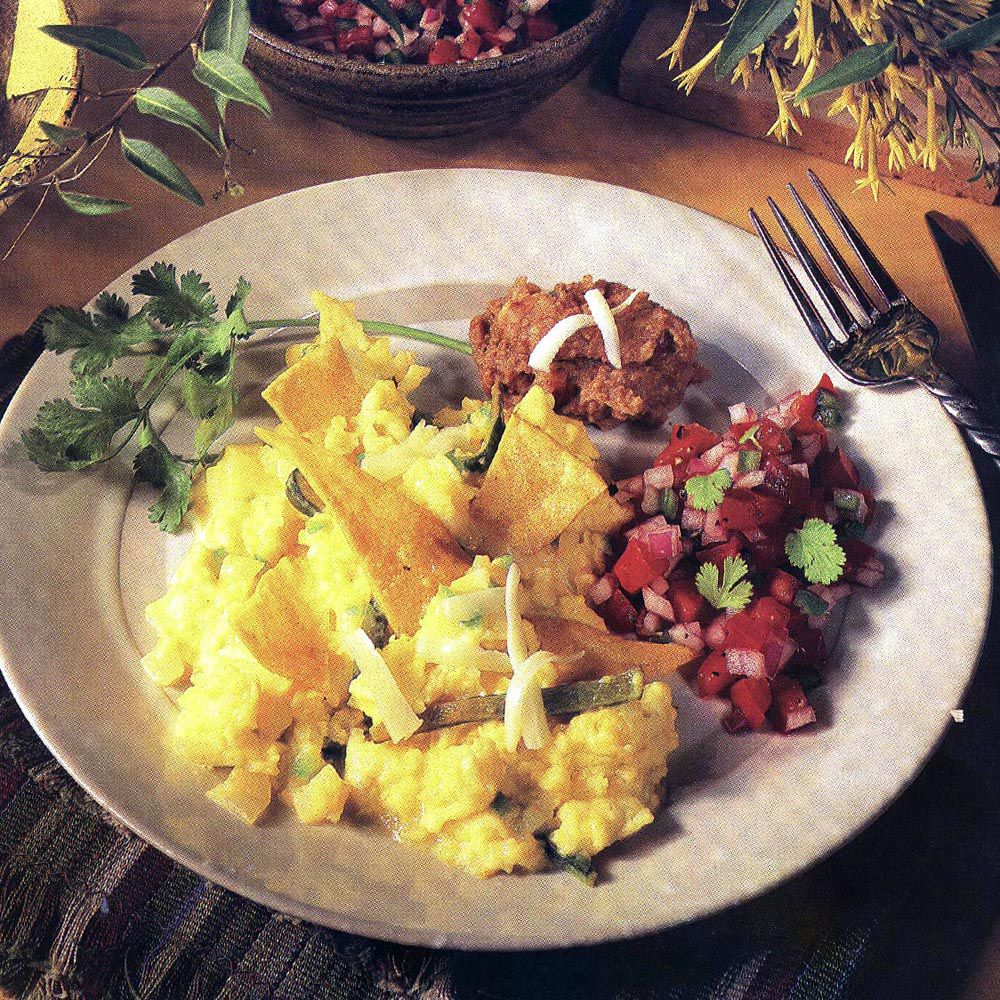 Eggs Scrambled with Tortillas, Beans and Salsa