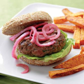 Spicy Turkey Burgers with Pickled Onions