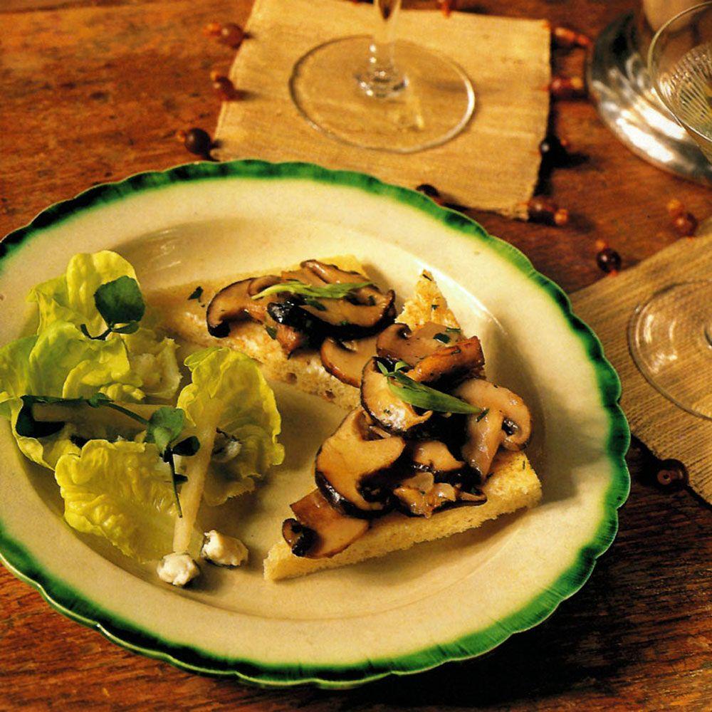 Mushroom Toasts with Greens and Pear Salad