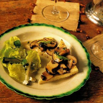 Mushroom Toasts with Greens and Pear Salad