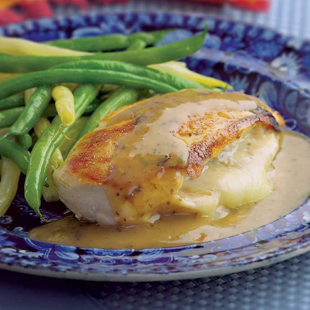 Chicken Stuffed with Golden Onions and Fontina