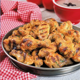 Southwestern Grilled Chicken Wings with Black Bean Dip