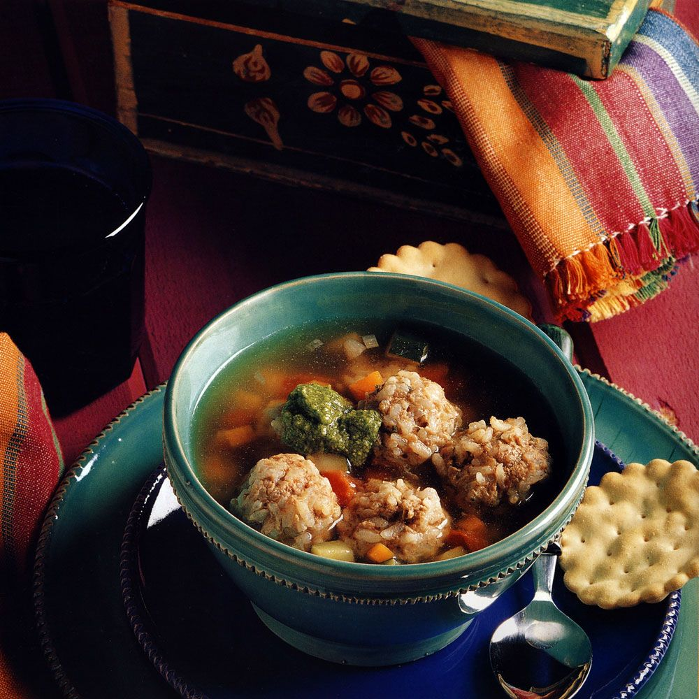 Albondigas Soup with Cilantro Pesto
