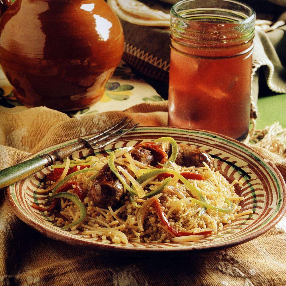 Chorizo and Roasted Pepper Ragout over Quinoa
