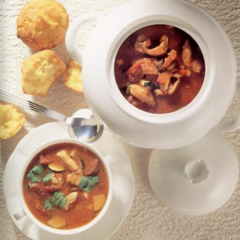 Chicken and Corn Soup with Cornmeal Muffins
