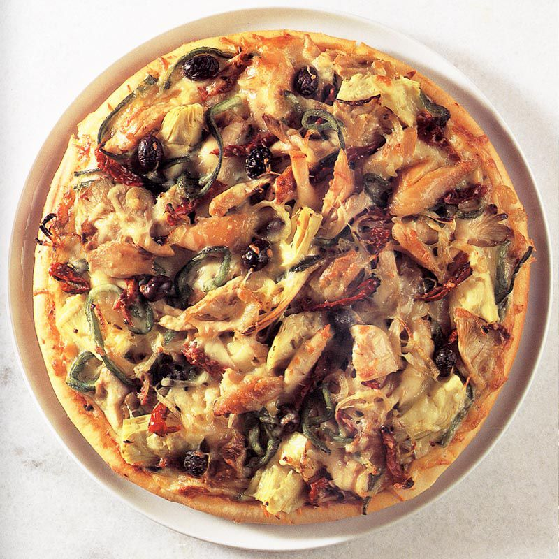 Chicken, Oyster Mushroom and Artichoke Pizza