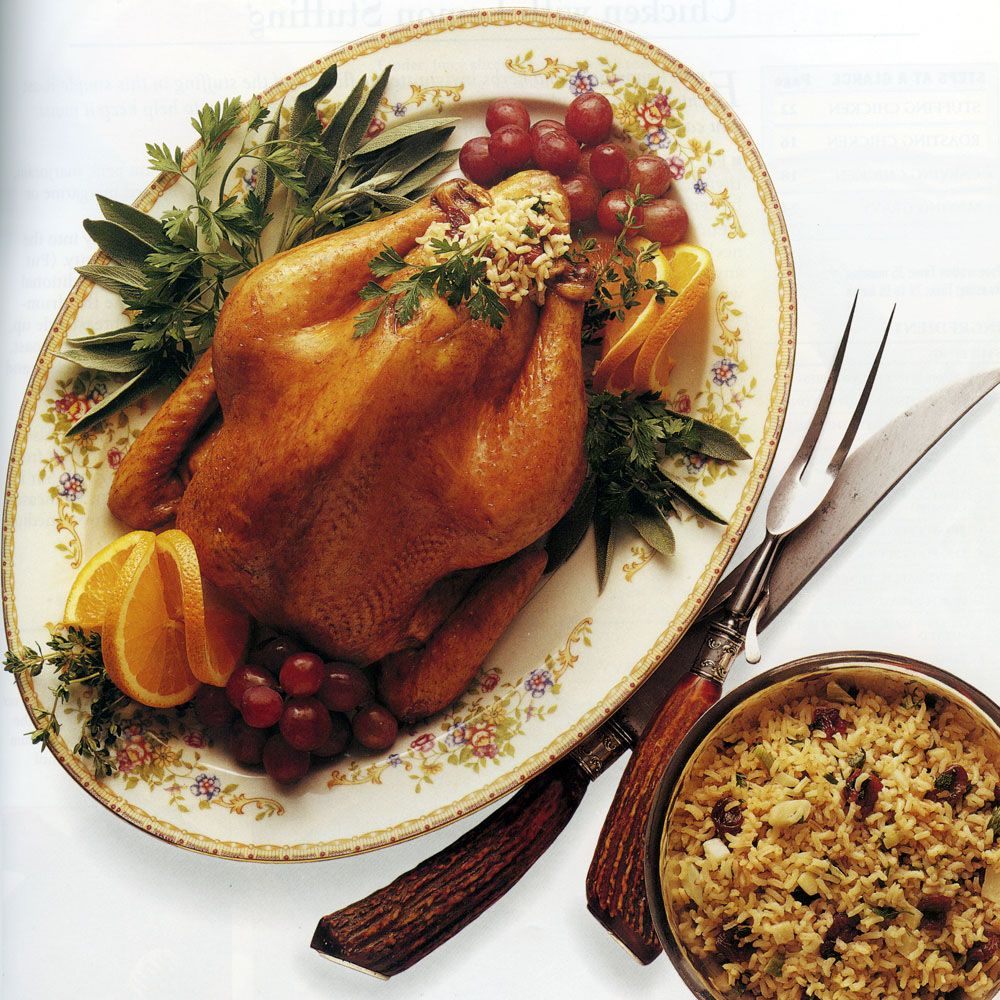 Roast Chicken with Wild Pecan Rice Stuffing Recipe : Cooking.com ...