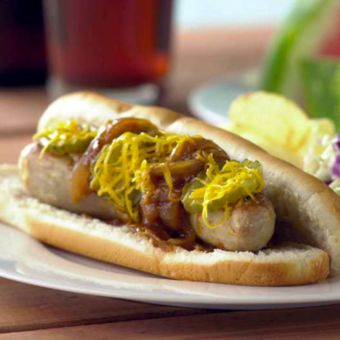 Grilled Bratwurst Sandwiches with Barbecued Onion Relish