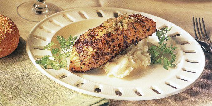 Pan-Roasted Salmon on Horseradish Potatoes
