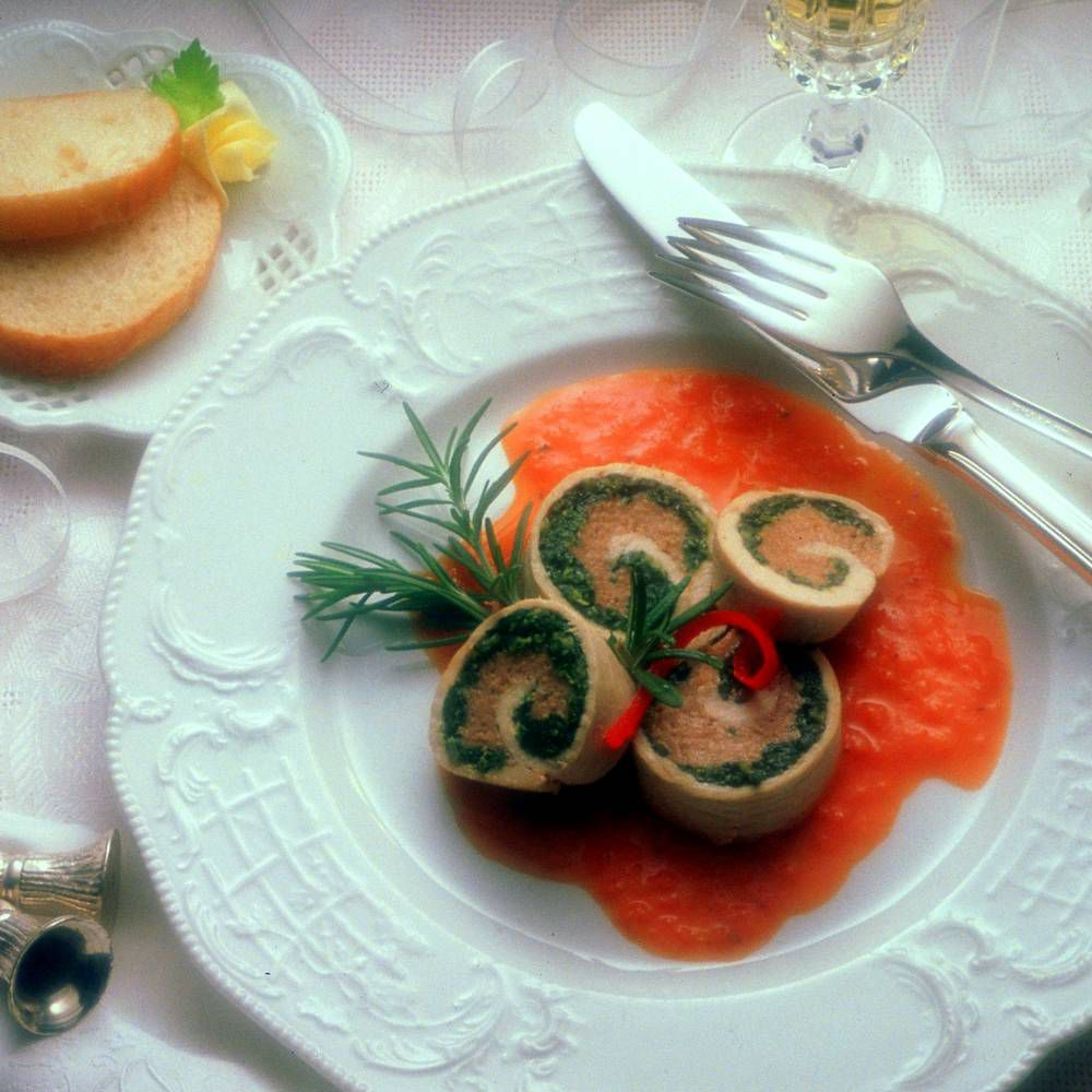 Turkey Roulade with Roasted Red Pepper Sauce