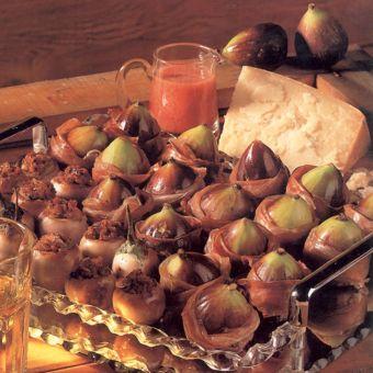 Prosciutto Wrapped Figs with Strawberry Vinaigrette