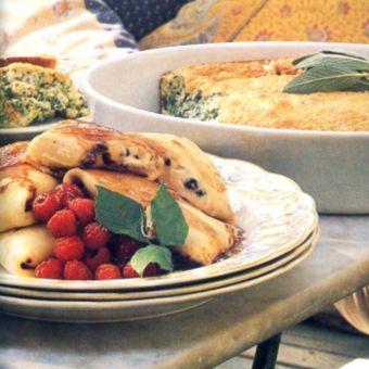 Cream Cheese Blintzes with Strawberry Glaze