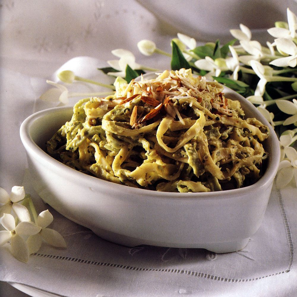 Linguine with Almond and Avocado Sauce