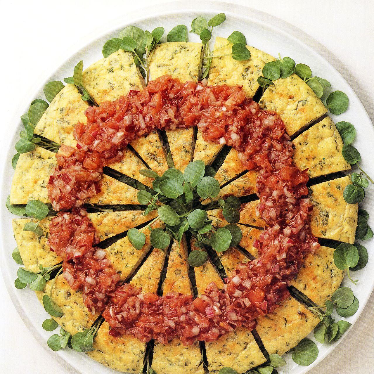 Herb and Potato Frittata Salad with Tomato and Onion Salsa