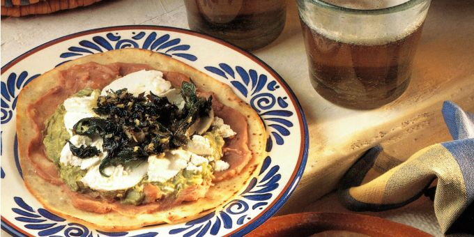 Goat Cheese Tostadas with Deep-fried Herbs