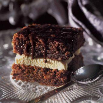 Chocolate Brownies with Ice Cream & Chocolate Sauce