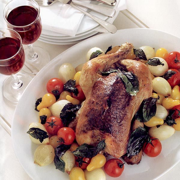 Olive-Seasoned Chicken with Roasted Tomatoes and Onions