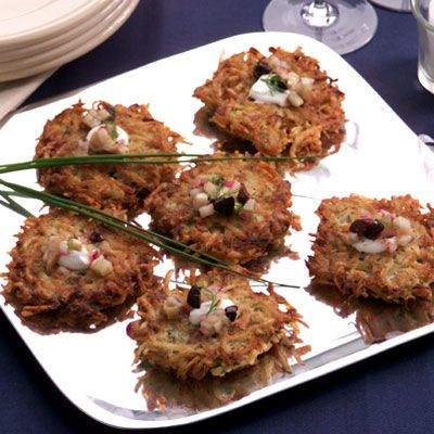 Potato and Fennel Latkes with Potato, Fennel and Olive Relish