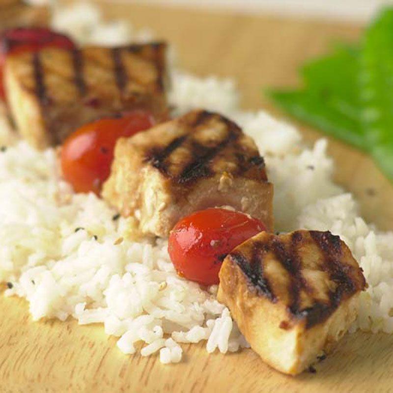 Grilled Swordfish Kebabs with Sake-Orange Glaze